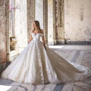 Image 1 - Julia Kui De baile con hombros descubiertos, vestido De novia con precioso encaje Vintage, vestido De novia De cola De corte