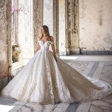 ג וליה Kui כבוי כתף כדור שמלת חתונת שמלה עם תחרה מדהימה בציר משפט רכבת הכלה שמלת vestido דה noiva