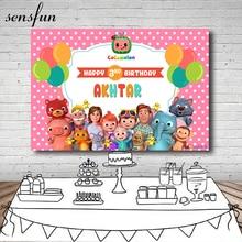 Sensfun Pink Theme Cocomelon Photography Backgrounds Balloons Kids Happy Birthday Party Backdrops Photo Studio Custom Poster