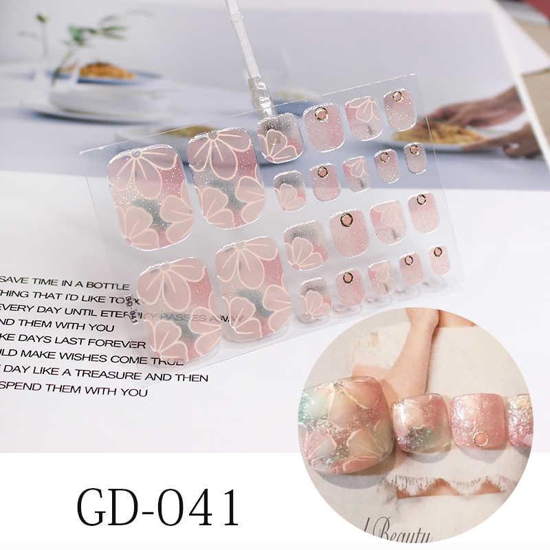 22เคล็ดลับใหม่ภาษาฝรั่งเศสคำเล็บสติกเกอร์ดอกไม้เล็บปกคลุมเต็มรูปแบบWraps Waterproof Smudge Shiningเล็บฟิล์มสติ๊กเกอร์