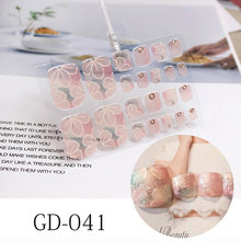 22Tips New French Toenail Stickers Flowers Nails Full Cover Adhesive Wraps Waterproof Smudge Shining Nail Film Polish Stickers