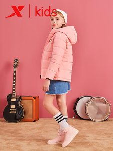 Image 5 - Xtep Girls Fashion Hooded Down Jackets Kids Casual Solid Color Zipper Warm Coats Children Thicken Coats 682424189047
