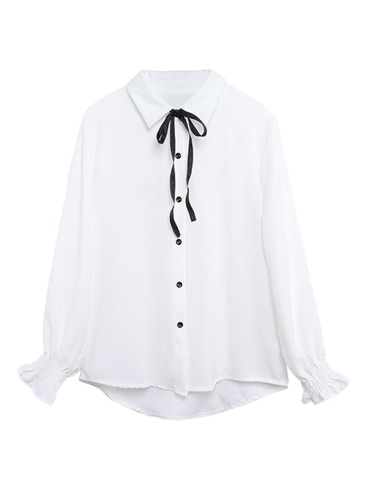Autumn New Women's Cute Long Sleeve Shirt Korean Japanese School Uniform College Wind Solid Color Wild Bow Shirt Button Student