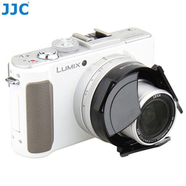 JJC Fotocamera Auto Copriobiettivo per PANASONIC DMC LX7/Leica D Lux6 Nero Argento Self Conservando Automatico di Protezione