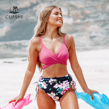 CUPSHE Pink and Floral Print Bikini Sets Sexy Lace Up Padded Cups Swimsuit Two Pieces Swimwear Women 2020 Beach Bathing Suits