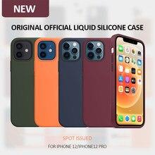 Oficial caso de silicone original para iphone 12 mini se 2020 xr x xs 7 8 plus 6s casos para iphone xr xs 11 12 pro max capa completa