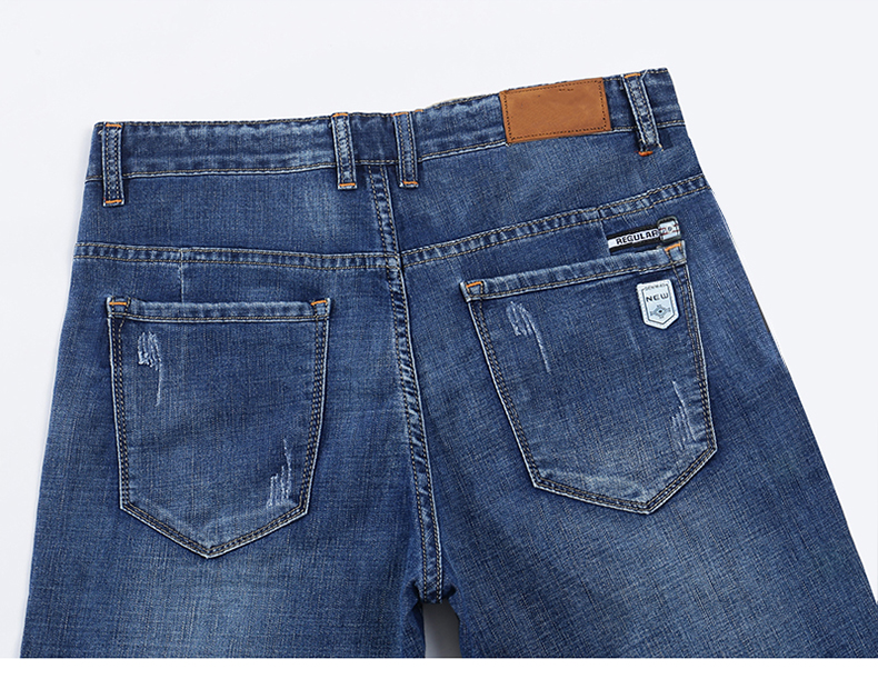 Summer Shorts Jeans for Men New Arrivals Elasticity Blue Scratched Fashion Pockets Denim Shorts