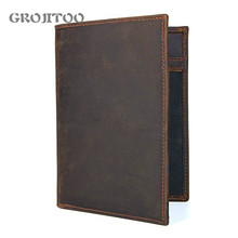 Crazy Horse leather passport bag for men and women traveling abroad wallet card bag multi-functional leather ticket holder 8450