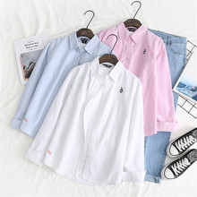 Cotton Long Sleeve Autumn Shirt Turn-down Collar Office Ladies Top Fashion Solid Embroidery Women Blouse Plus Size Casual Blusas cotton long shirt fashion plaid turn down collar full sleeve office lady autumn women blouse plus size casual blusas student top