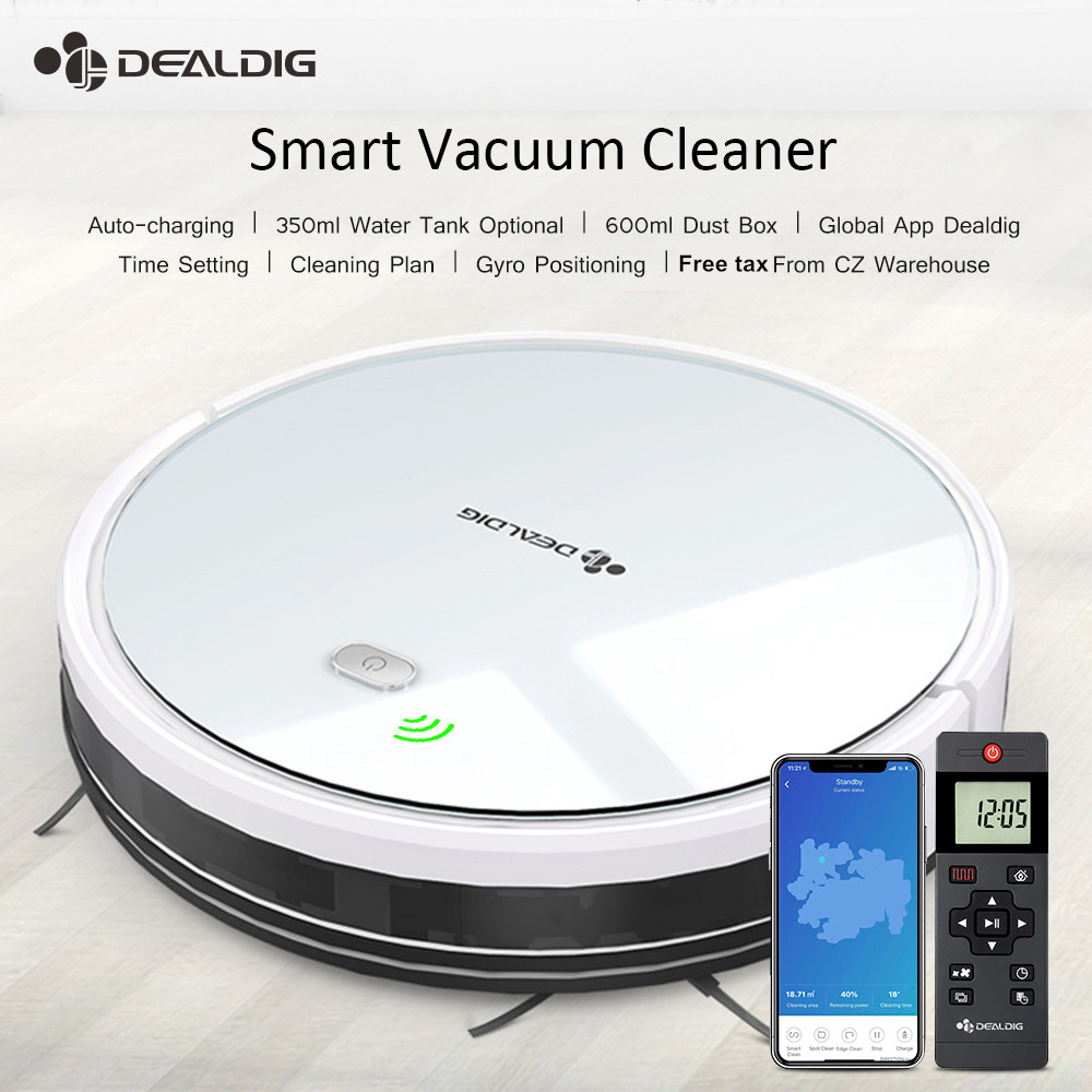 DEALDIG Robvacuum 8 Robot Vacuum Cleaner 1800PASuction Aspirator Time Setting 3 In1 Pet Hair Home Dry Wet Mopping Cleaning Robot