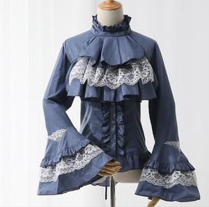 Женская винтажная блузка с ласточкиным хвостом, белая бандажная рубашка в стиле «лолита», готика, весна, Q20