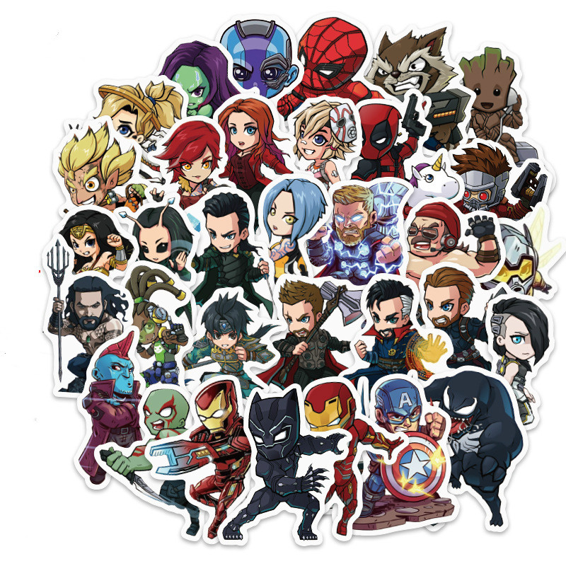 108PCS DC Superhero Marvel Hero Sticker Movie Sticker For DIY Sticker On Travel Case Laptop Skateboard Guitar Fridge Phone Decel