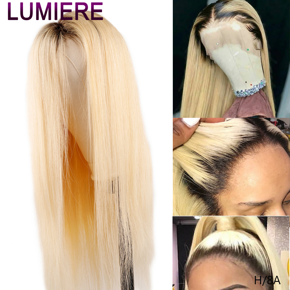 Lumiere 1B/613 Blonde Full Lace Front Human Hair Wigs Brazilian Straight Hair 613 Transparent Lace Frontal Wigs Remy Hair