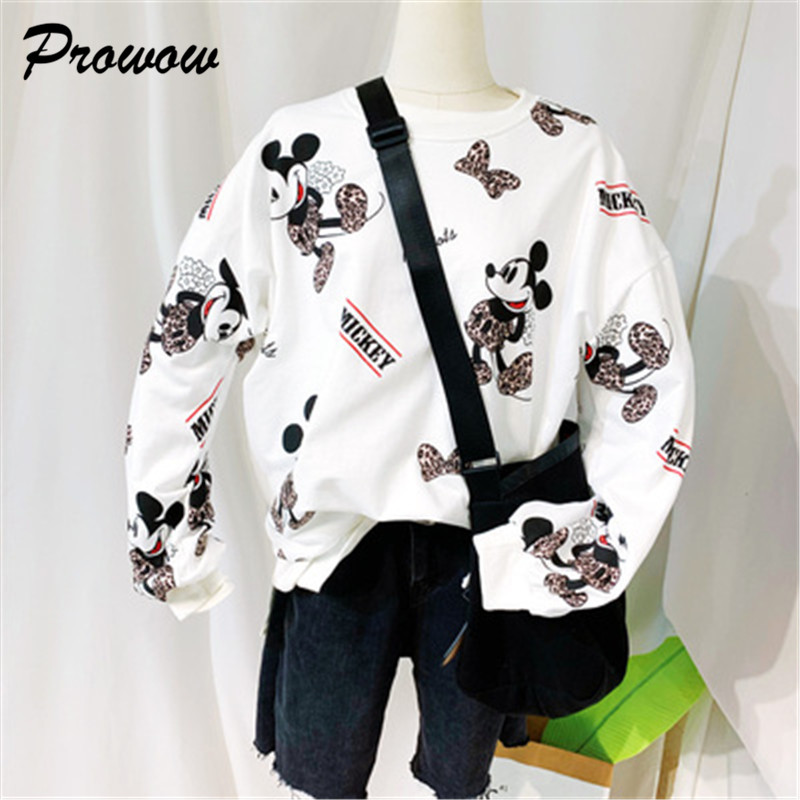Variety Mickey Women Sweatshirt Cartoon Long Sleeve Hoodies Tops Women Pullover Sweatshirt Ladies Sweatshirt Mickey Clothing