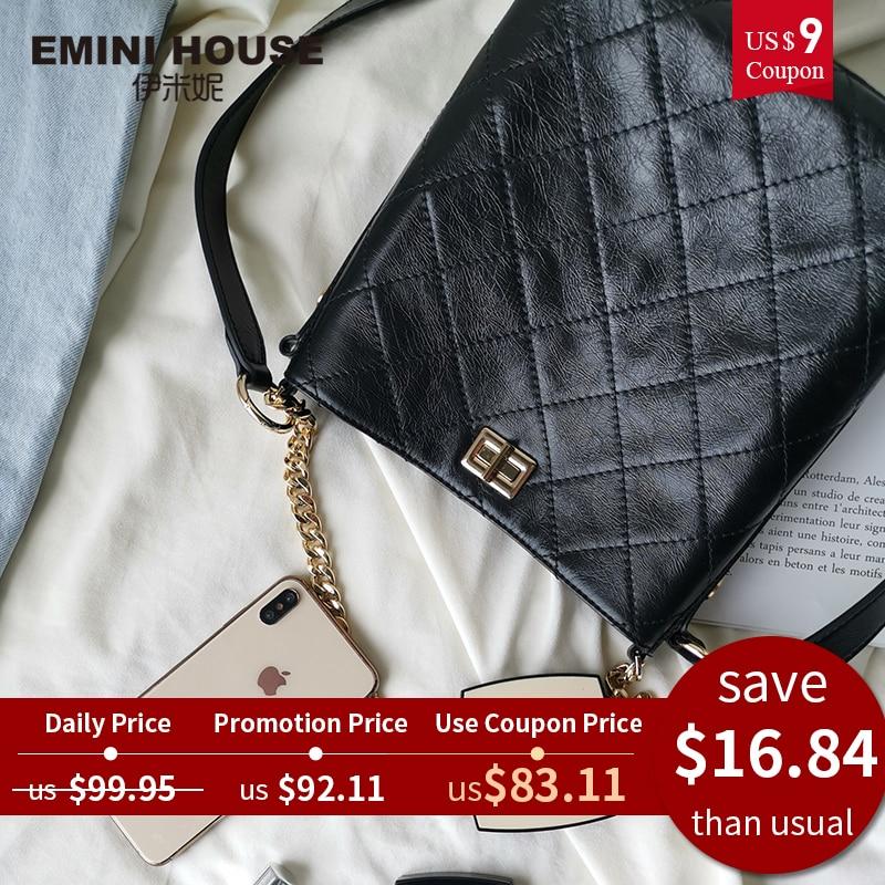 Women Bags Lattice-Bucket-Bag Shoulder-Bag House-Oil Wax-Diamond Wide-Strap EMINI Designer