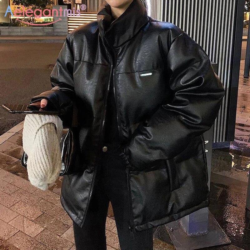 Женская куртка-пуховик Aelegantmis, черная Толстая куртка-пуховик из искусственной кожи, в Корейском стиле, большого размера, яркого цвета, зима-о...