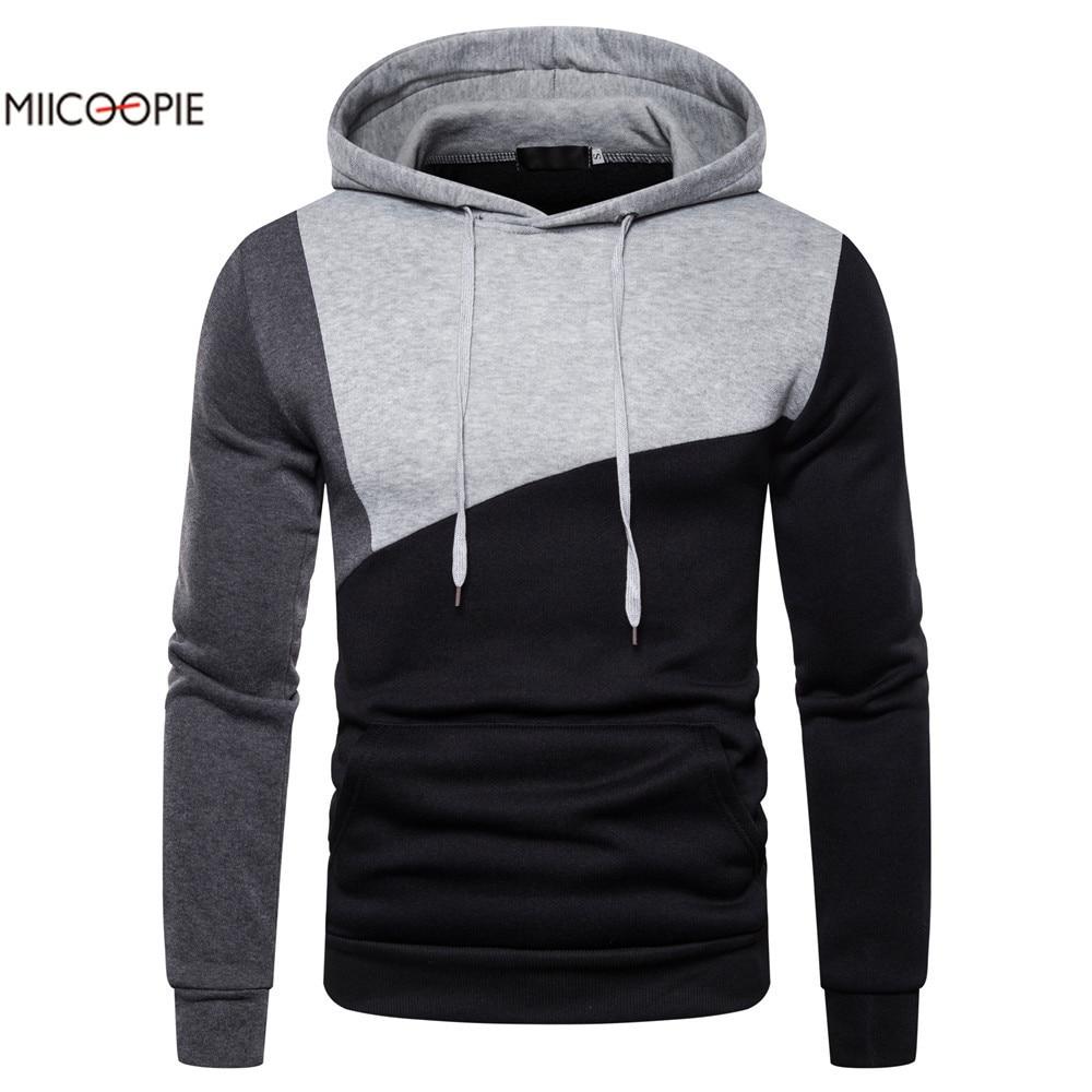 Miicoopie 2019 Mens Hoodies New Arrival Patchwork Pullover Hoodie Sweatshirt Mens Streetwear