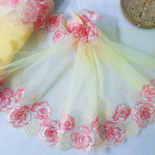 30cm Wide Dual Side Yellow Flower Embroidered Mesh Lace Trimmings Dress Accessories Lace Fabric Sewing Crafts Doll Material
