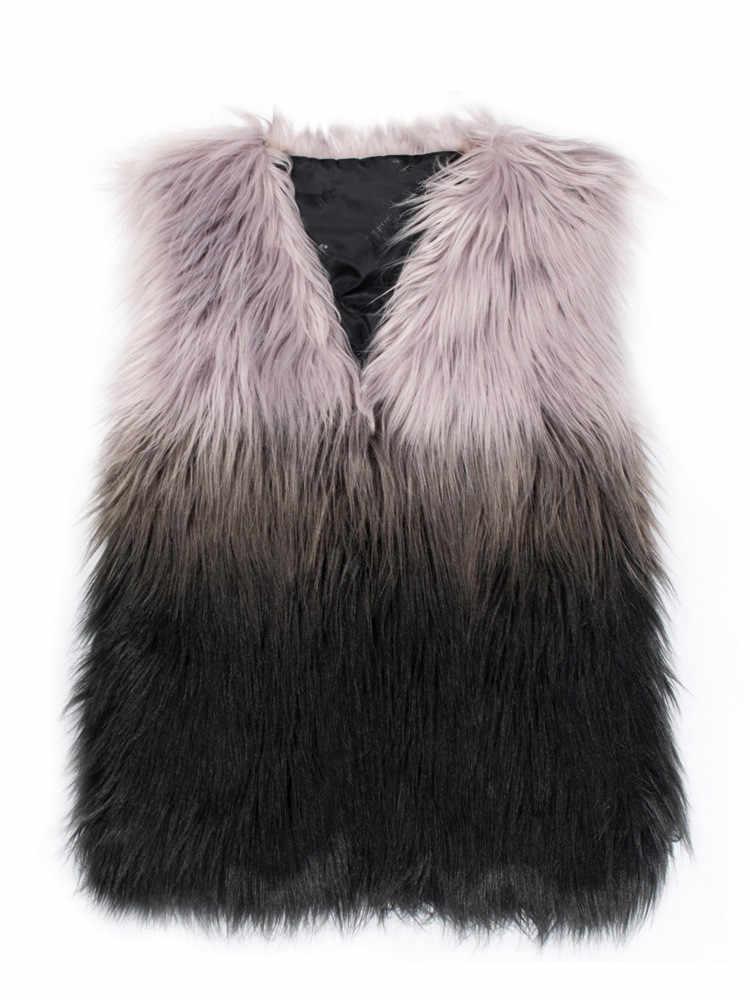 Neue Gilet Femme Frauen Winter Herbst Nachahmung Fuchs Pelz Weste V Hals Mischfarbe Weiblichen Kurzen Abschnitt Kleine Weste Mäntel k1175