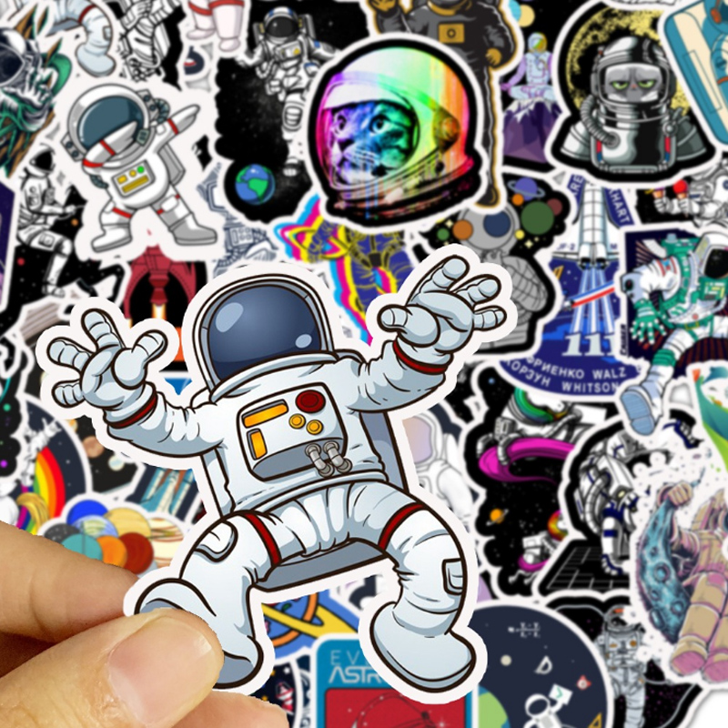 10/30/50Pcs Outer Space Astronaut Stickers For Travel Suitcase Skateboard Scrapbook Bullet Journal Graffiti Sticker Kids DIY Toy