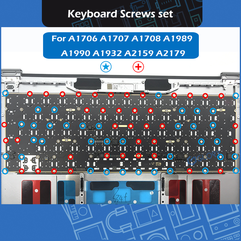 For Macbook A1706 A1707 A1708 A1989 A1990 A1932 A2159 A2179 Keyboard Screw Set Screws Replacement
