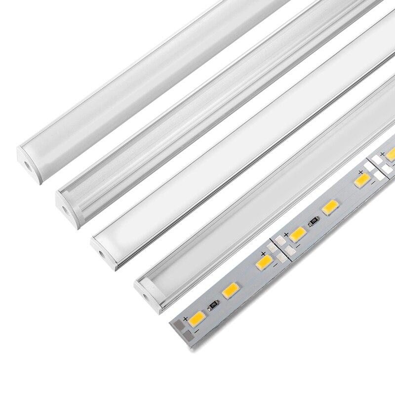 2-30pcs/lot LED aluminum hard bar Light U/V Shaped 50CM for 5630 led strip 12V milky/transparent for LED aluminum profile lamp
