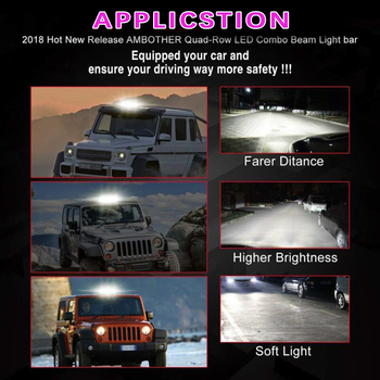 Car LED Light Bar Off Road SUV Driving DC 10-30V 6000K 21600LM Replacement