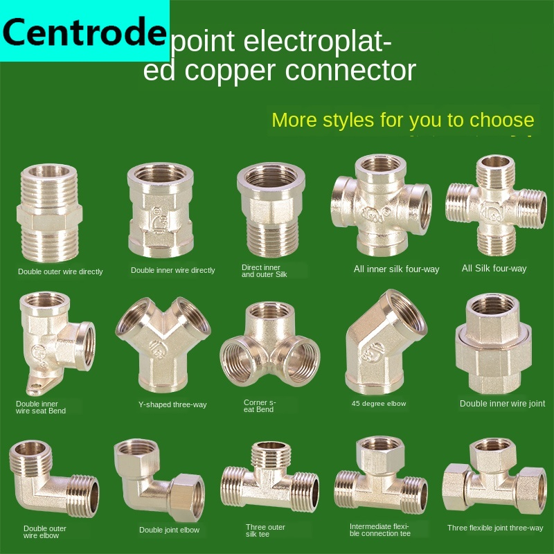 1/2IN Copper Tee Joint Stainless Steel Elbow Direct Plating Tee Joint Inside And Outside Wire Gas Water Pipe Fittings
