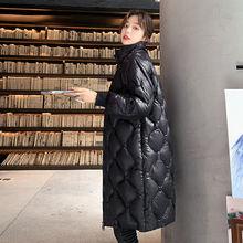 Kurtka bawełniana damska w połowie długości stójka 2020 zimowa w stylu koreańskim błyszcząca kurtka damska Over-the-Knee moda męska topy Warm tanie tanio Fan·Sweet CN (pochodzenie) Na wiosnę jesień REGULAR Na co dzień zipper Pełne COTTON Z OCTANU Włókno poliestrowe STANDARD