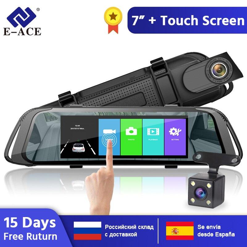 E-ACE 7.0 pouces tactile voiture DVR miroir FHD 1080P enregistreur vidéo Auto registrateur Dash caméra double lentille avec caméra de vue arrière