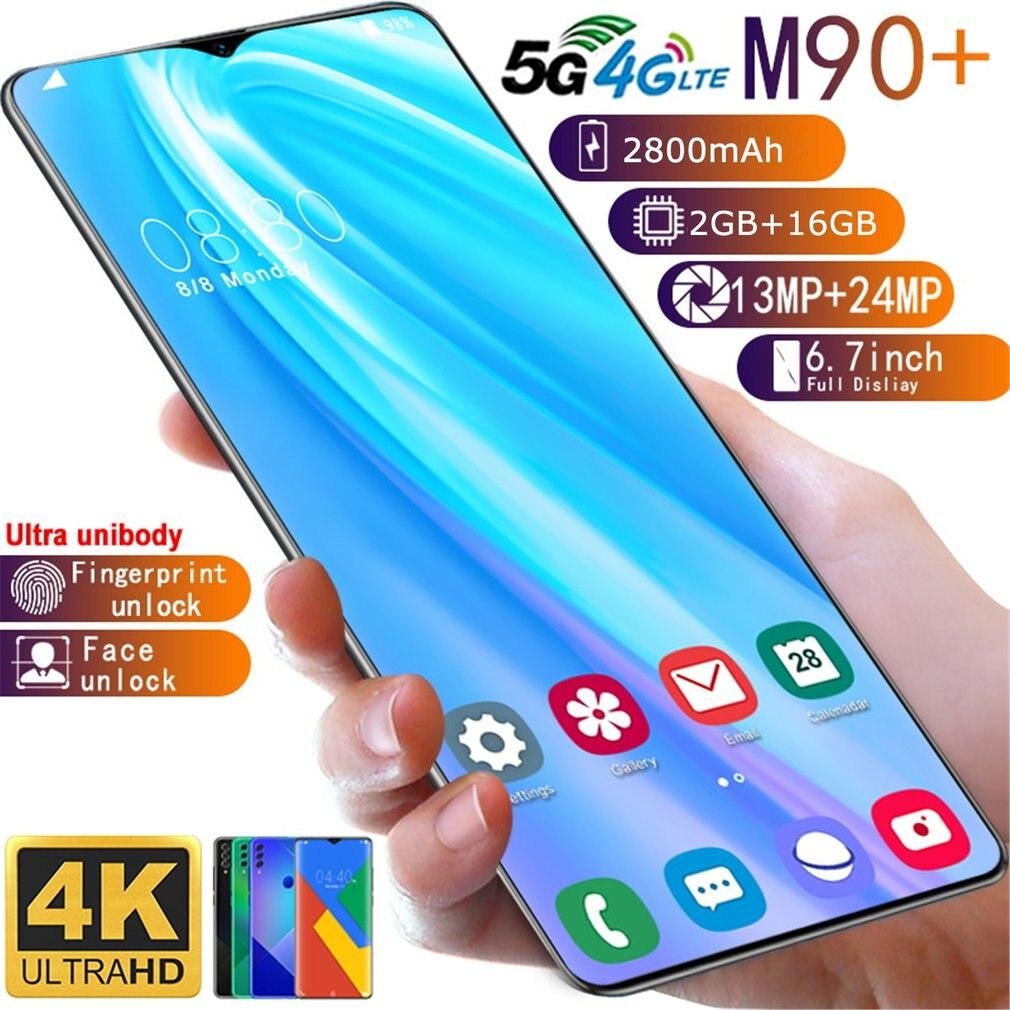 M90+ 2+16GB 6.7Inch Water Drop Screen Human Face Fingerprint Mobile Phone Smart Phone Bit Battery Camera Smartphone