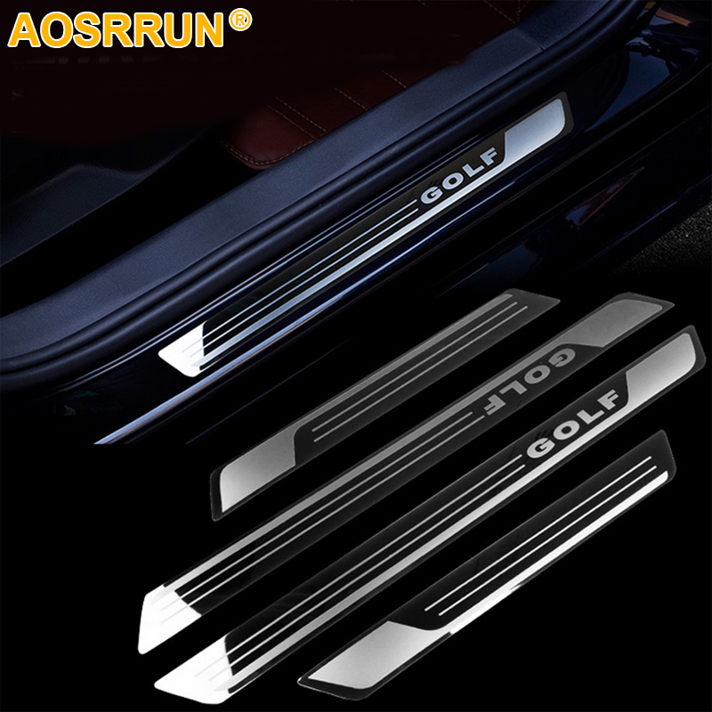 For VW Volkswagen Golf 7 MK7 2011-2018 Stainless Steel Door Sill Strip Welcome Pedal Trim Auto Car Styling Stickers Accessories