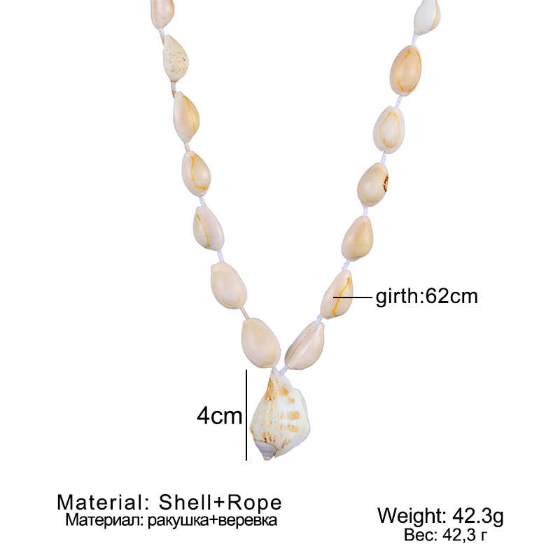VKME טבעי מעטפת שרשרת בעבודת יד חרוזים boho סגנון נשי שרשרת חדש אופנה קסם קונכייה תליון תכשיטי משתה מתנה