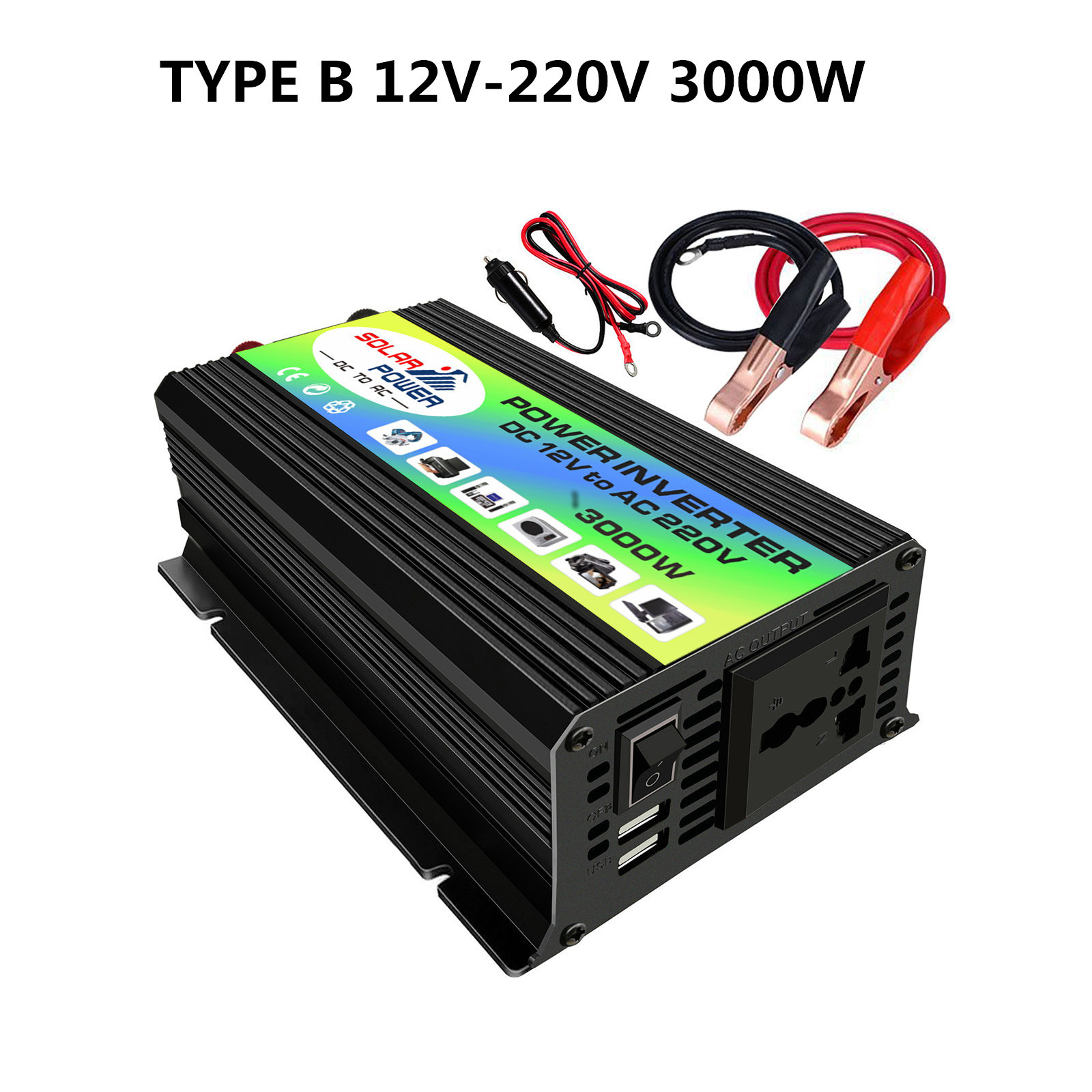 Solar Inverter 3000W Peak <font><b>Voltage</b></font> Transformer <font><b>Converter</b></font> <font><b>DC</b></font> 12V To AC 220V Car Inverter For Solar Inverter Home Appliances image