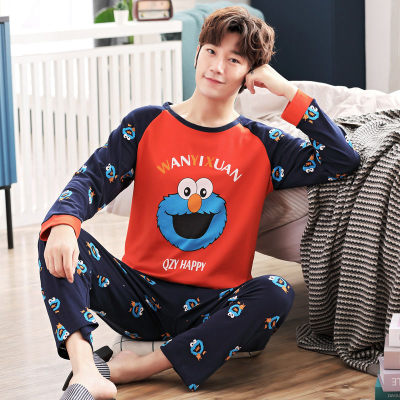 Yidanna Pajama Men's Spring Autumn Cotton Long Sleeve Cartoon Youth Men's Autumn Winter Thin Student Suit Cotton Large