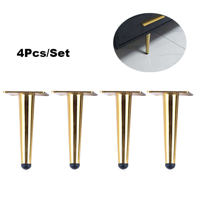 4 Pieces Of Metal Furniture Feet 15cm, Table, Cabinet Feet, Sofa Bed, TV Cabinet Feet With Mounting Screws, Gold Straight Feet