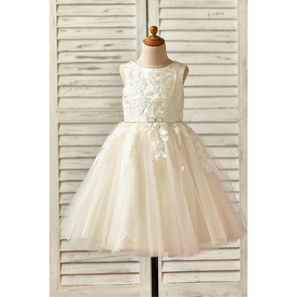 Champagne Ball Gown New   Flower     Girl     Dress   2019 Appliques Lace Tulle   Dress   with Beading Covered Button   Dress   for Wedding Party