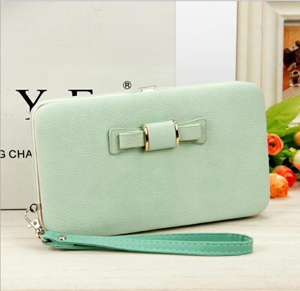Женский кошелек, сумка для мобильного телефона, фирменный дизайн, Женский кошелек из искусственной кожи, длинные женские кошельки и кошельки, женский тонкий держатель для карт, кошелек - Цвет: 3light green