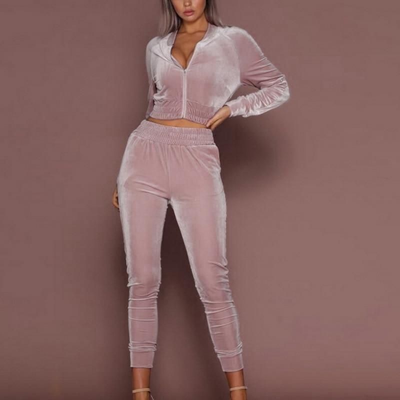 Pink Velvet Tracksuit For Women 2 Piece Sets Sportswear Warm Hoodie 2pcs Stripe Sweatshirt Pant Sweat Suits Casual Jogging Femm
