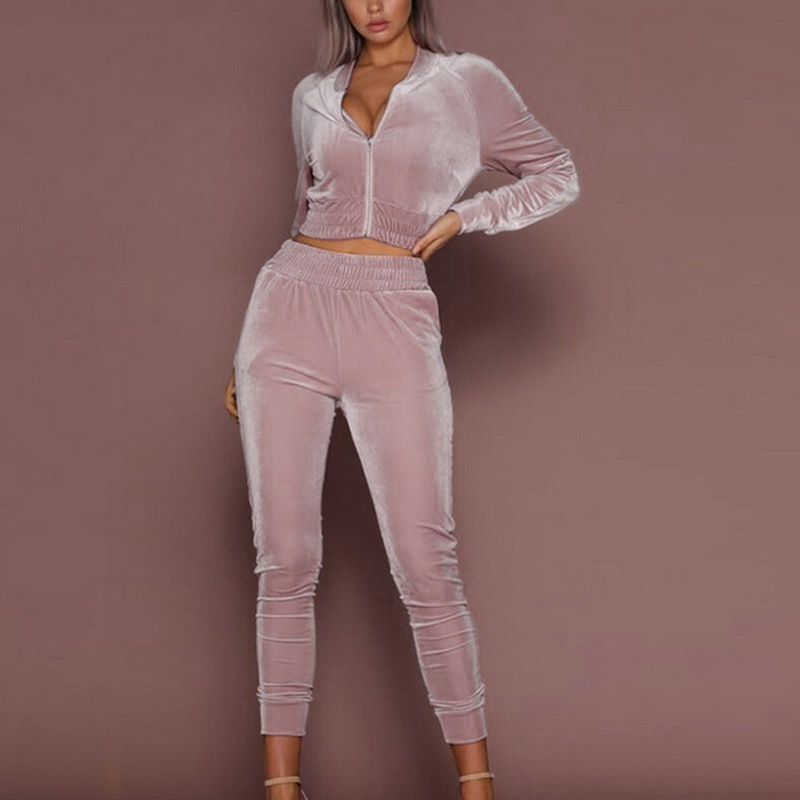 Pink Velvet Tracksuit For Women 2 Piece Sets Spring Autumn Sportswear Warm Hoodie 2pcs Stripe Sweatshirt Pant Sweat Suits Casual