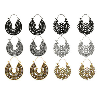 Middle East Foreign Trade Bohemian Retro Hollow Metal Earrings Amazon New Style C- Shaped Earrings Ear Pendant image