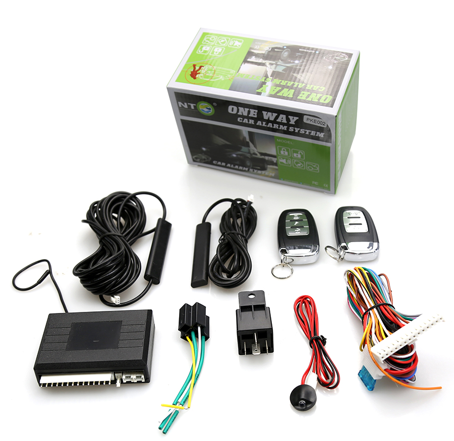 pke car alarm system with car keyless entry go system side door/ACC trigger alarm anti hijacking auto central PKE002