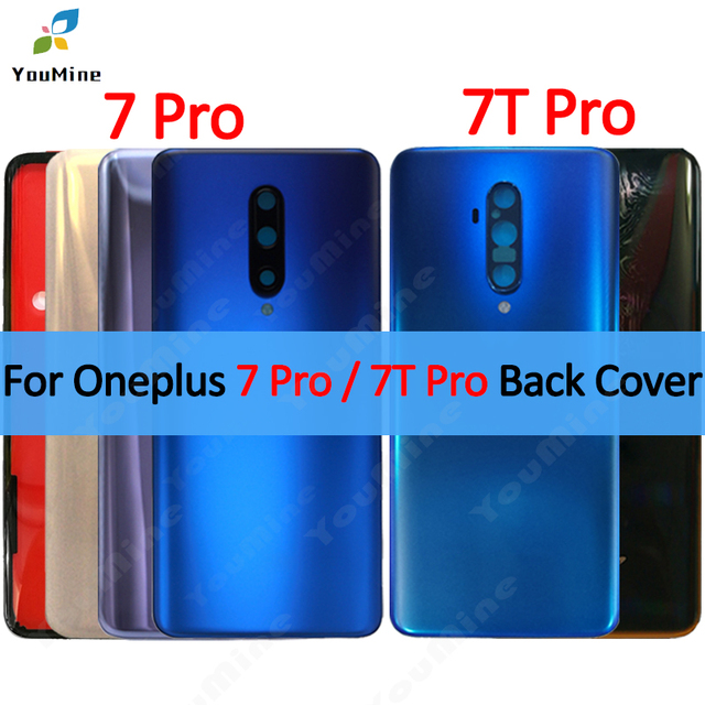 Original For OnePlus 7 Pro Back Battery Cover Door Rear Glass For Oneplus 7t pro Battery Cover Housing Case with Camera Lens