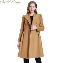 Belle Poque Элегантное длинное женское пальто с лацканами, 2 кармана, куртки с поясом, одноцветное пальто, женская верхняя одежда, зимние куртки