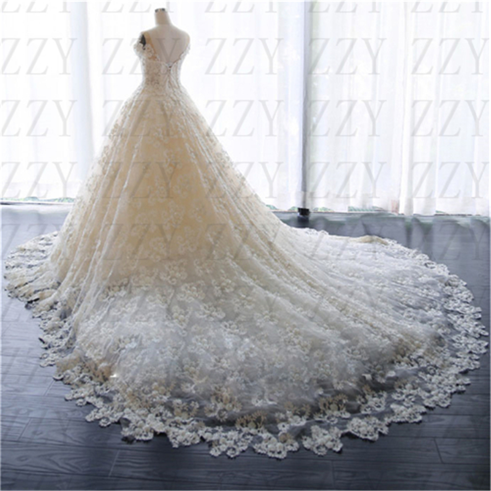 White Cap Sleeves Appliques Pearls Cap Sleeves Ball Gown Perfect Handworks Wedding Dresses Lace-up Vestido De Bridal Gowns