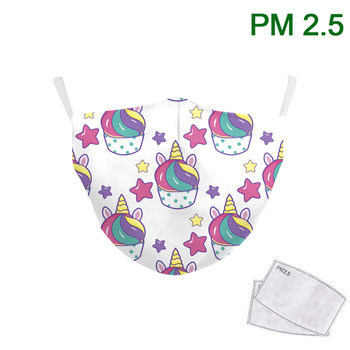 Face Fabric Masks  Anti- Reusable Mask Funny Masks Print Washable Fabric Cute Kids Adjustable Earhook Mouth-muffle for Child 1