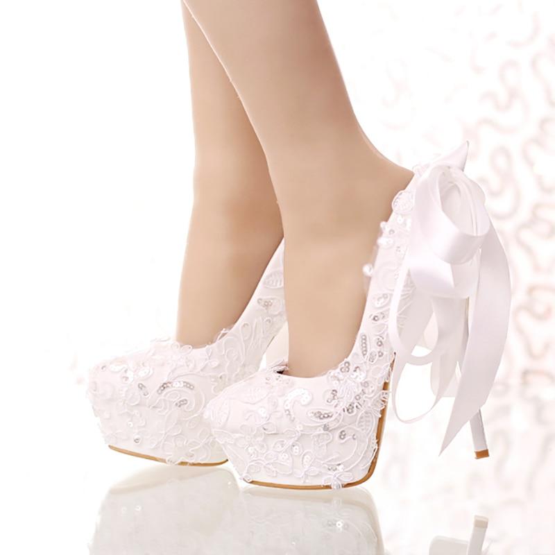 Women Wedding Shoes High Heels White
