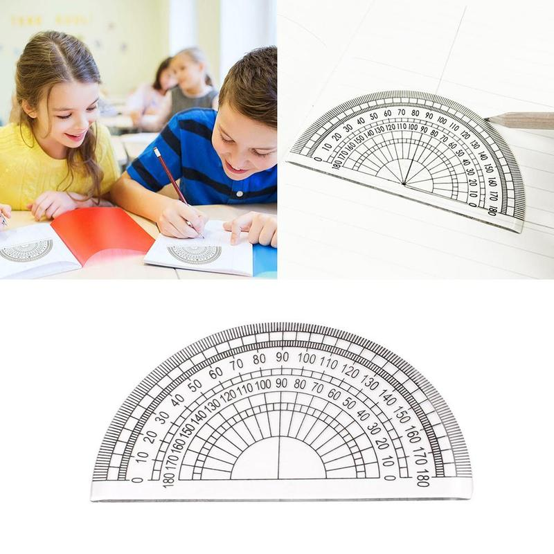 Single Semicircular Protractor Transparent Plastic Protractor Student Painting Tool Triangle Ruler Angle Measuring Tool