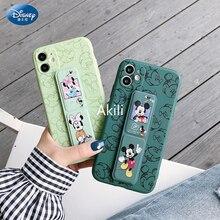 Disney Mickey Minnie Polsband Case Voor Iphone 11 Pro Max 12 Mini Xs Max Xr X 7 8 Plus Terug cover Magnetische Vouwen Beugel Shell