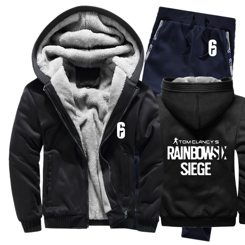 Winter Hoodies Men Rainbow Six Siege Mens Hoodies Suit Thicken Warm Fleece Cotton Zipper Tracksuit Mens Jacket+Pants 2Pcs Sets